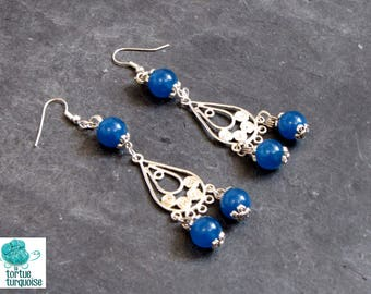 """Trinity"", charm earrings drop blue jade and metal"