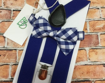Little Boys Bow Tie and Suspender Set - Royal Blue Plaid