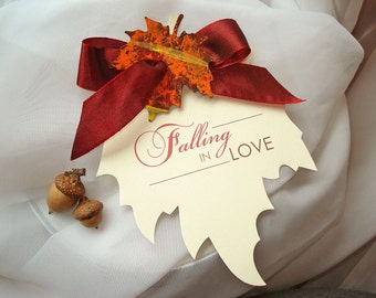 Falling in Love Save the Date, Fall Wedding Save the Date, Autumn Wedding Save the Date, Leaf Shape, Rustic Save the Date, Fall in Love Card