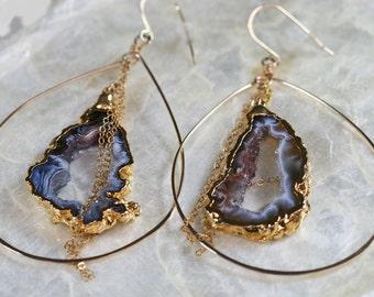 Druzy Earrings -  Large Hoop Earrings - Geode Earrings - Dark Grey Brown Druzy Earrings - Drusy Earrings - Hammered Hoop Earrings