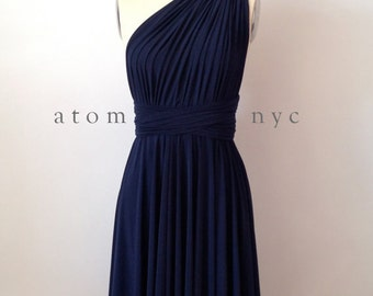Navy Blue SHORT Infinity Dress Convertible Formal Multiway Wrap Dress Bridesmaid Dress Toga Cocktail Evening Dress