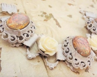 Bohemian Gypsy Bracelet, Pink Fire Opal and Rose Assemblage Bracelet, Shabby Chic Bracelet, Upcycled Vintage Bracelet Bertha Louise Designs