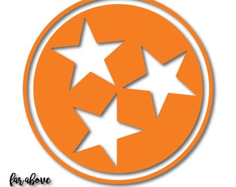 State of Tennessee TN Tri-Star tristar pride proud SVG, EPS, dxf, png, jpg digital cut files for Silhouette Cricut Classic