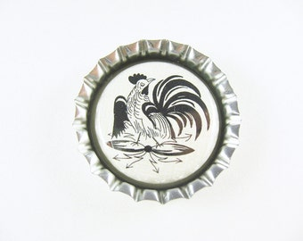 Bottle Cap Fridge Magnet Home & Living, Kitchen, Storage German Folk Art Rooster Neutral Black