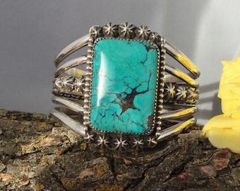 Blue- Green Turquoise Cuff Bracelet/ Artisan Handmade/ Sterling Silver/ Southwestern Jewelry