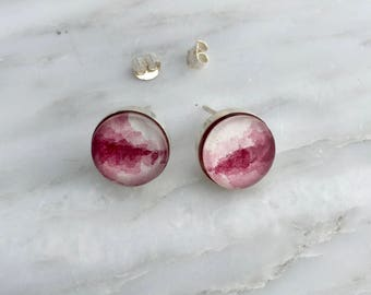 Perylene Violet Post Earrings - Sterling Silver Watercolor Earrings