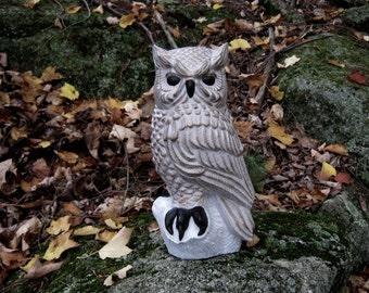 Owl Statue, Concrete Owl, Owl Perched On Stump, Painted Owl Concrete Statue,