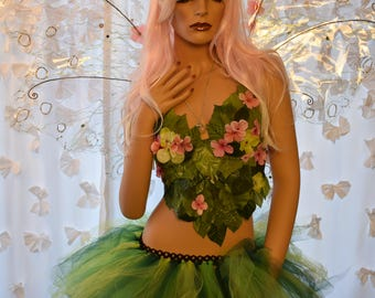 Adult Spring fairy costume,fairy top,flowers leaf fairy costume, fairy rave outfit, fairy festival costume, fairy skirt, pink fairy wings