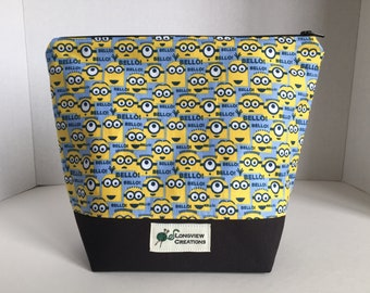Knitting Project Bag, Wedge Bag, Zippered Bag, Sock Size, Minions