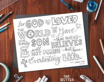 Bible Verse Coloring Page - John 3:16 - Printable Coloring Page - Bible Verse Coloring Pages - Christian Kids Activity - Christian Coloring