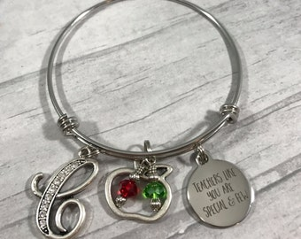 Teacher Bracelet. Teacher Aide Gift. Teacher Christmas Gift. Teacher Appreciation Gift. Teacher Bangle Bracelet. Initial Charm. Best Teacher