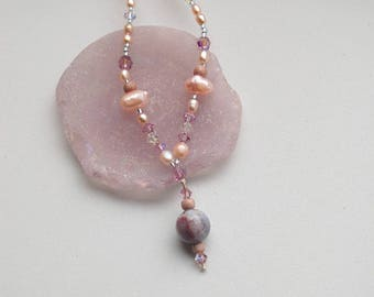 Pink Pearl and Crystal Beaded Necklace, Fresh Water Pearl Necklace, Swarovski Chyrstal