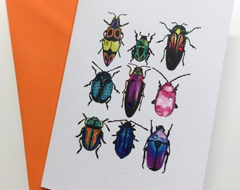 Handmade Beetle card ideal for Birthdays, Good Luck, Thinking of you, Friendship, Get Well Soon, Miss you, Love