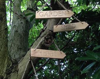 Garden Sign - Handmade reclaimed wood 'Garden' sign
