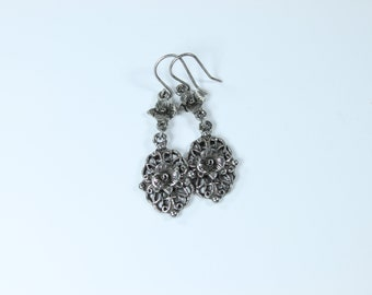 Double floral drop and dangle earrings from the Simply Floral line  women jewelry gift for her women delicate
