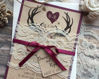 Rustic Wedding Invitation, Antler Wedding Invitation, Lace Wedding  Invitations, Country Wedding Invitations, Burgundy Wedding Invitation