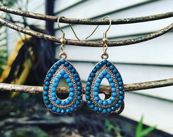 Turquoise drop boho earrings