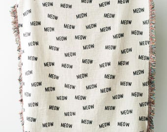 """Cat Throw Blanket - """"MEOW"""" Black and White Throws for Cat Room Decor, Dorm Blankets, Funny Blanket, etc."""