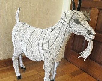 African Beaded Wire Animal Sculpture -GOAT MEDIUM - White