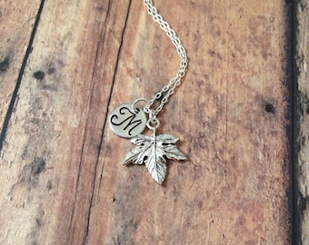 Maple leaf initial necklace - maple leaf jewelry, Canadian jewelry, leaf necklace, Canada necklace, silver maple leaf necklace
