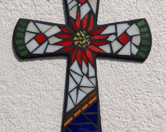 Colonial Wall Cross, Mosaic Cross, Original Wall Cross, Hand made Wall Cross, Colonial Wall Cross, Mosaic Wall Art, Unique Wall Cross