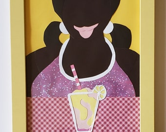 Strawberry Lemonade:Frozen Treat-Framed Original Paper Craft Illustration