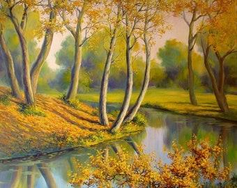 Autumn landscape oil painting, Original oil painting, Autumn landscape art, Autumn trees painting, Oil on canvas, Realism landscape,