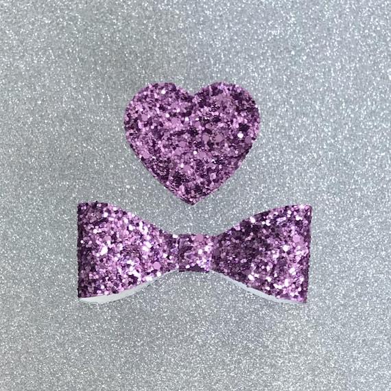 Purple Glitter Heart Bow