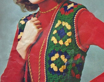 Granny Square Motif Vest and Hat Beanie Tam Crochet Pattern Vintage 1960s Sizes Small, Mediium Large PDF