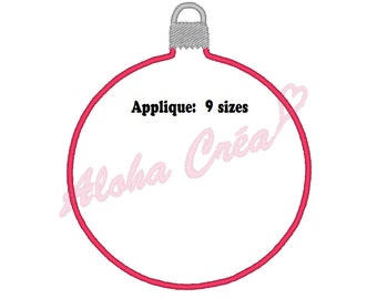 Machine Embroidery Design christmas ball applique (9 sizes) - Instant Digital Download