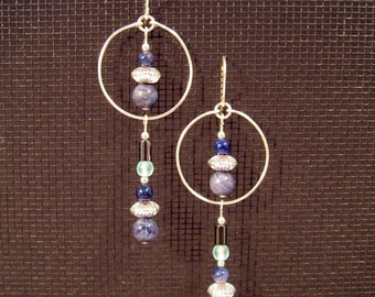 Sterling Silver Atlantic Ocean Colors Hoop Earrings