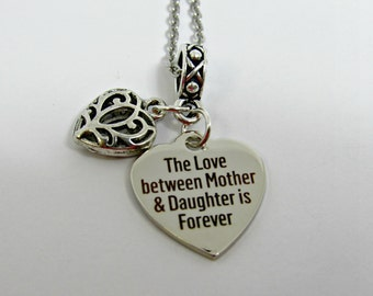 The Love Between Mother & Daughter is Forever Necklace, Mother Daughter Heart Necklace, Stainless Steel Chain, Heart Charm