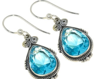 "Faceted Swiss Blue Topaz 925 Sterling Silver Earring 1.77"""