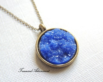 Druzy Necklace, Resin Blue Druzy Round, Vintage Style Necklace, Galaxy Necklace, Thank you gift for her, Something Blue, Vintage Wedding