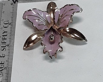 10%OFF3DAYSALE Gold toned purple flower pin brooch used