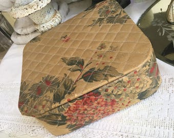 Vintage Fabric Covered Floral Shabby Box - Vintage Quilted Jewelry Organizer Boudoir Box