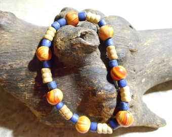 Handmade orange and blue  stretch bracelet