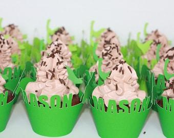 Personalized Custom Dinosaur cupcake wrappers, Dino birthday, Birthday Party, FAST turnaround, Set of 12