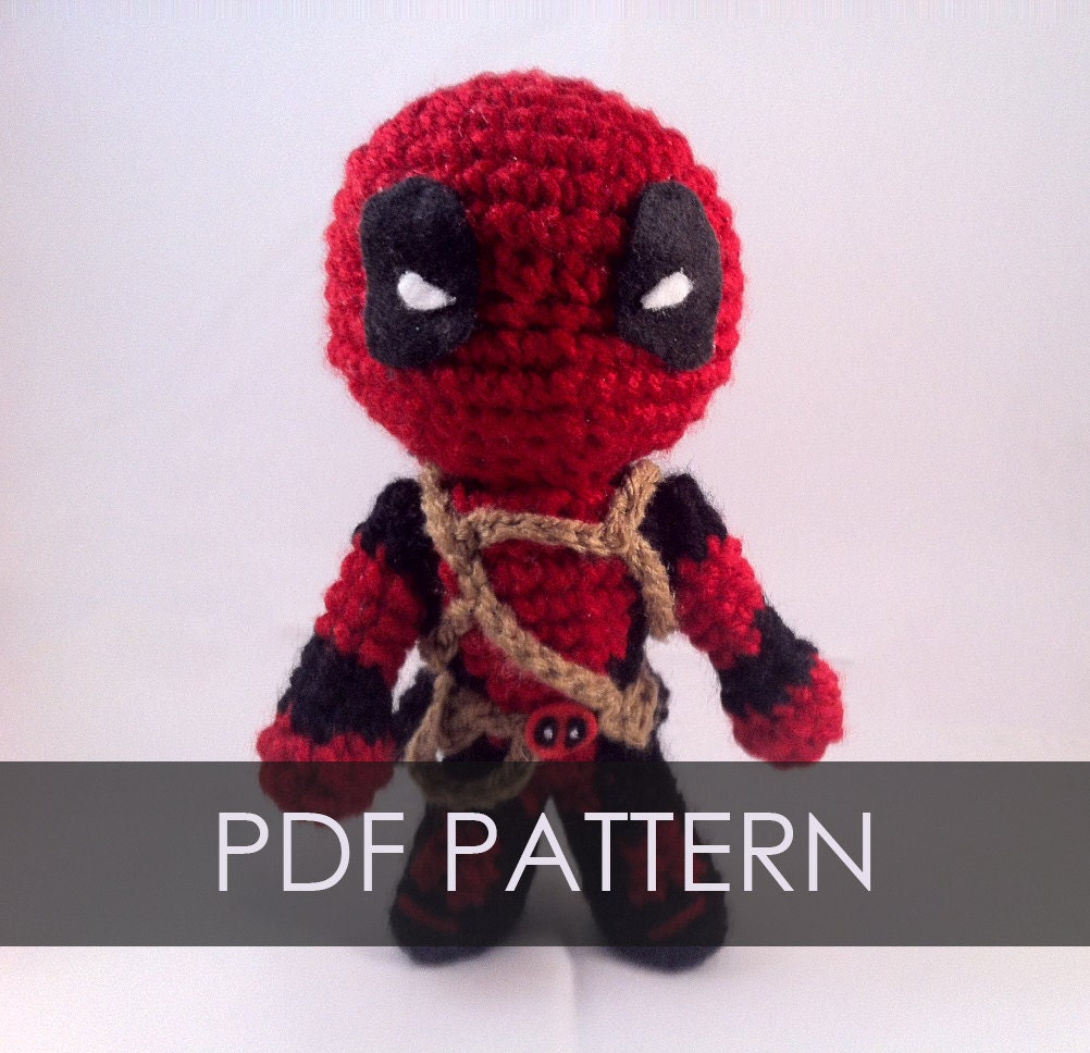 PDF CROCHET PATTERN Deadpool Inspired Chibi Amigurumi