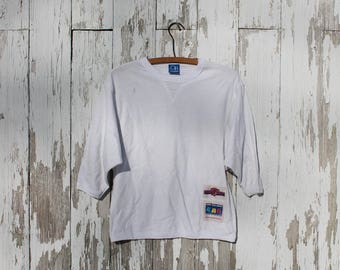 1980s three quarter sleeve white tee shirt, slight batwing, jersey knit, cotton, USA, cute labels, o.p., ocean pacific, medium, surf