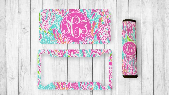 Monogrammed License Plate Lilly Inspired Seatbelt Cover