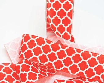 Lattice Print Ribbon Linen -- 1.5 inches -- Orange Ivory -- 2 yards Quatrefoil