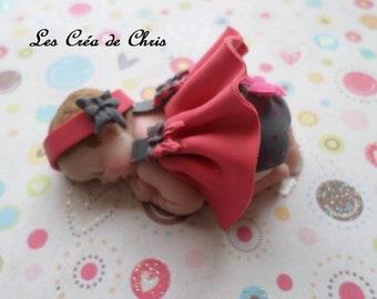baby girl short dress in fimo.