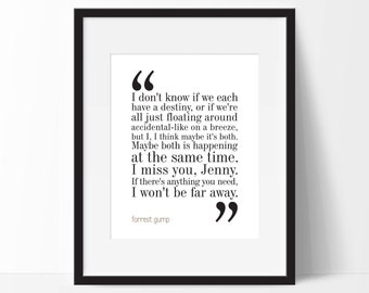 Forrest Gump Movie Quote. Typography Print. 8x10 on A4 Archival Matte Paper.