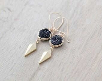 Druzy Dangle Earrings , Geometric Drop Gemstone Earrings , Modern Black Druzy Arrowhead Jewelry , Gold Fill , Sterling Silver