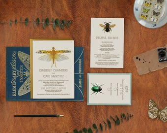 Wedding Invitation Suite: SAMPLE (Insects, Butterflies, Bees, Bugs, Entomology, Science, Scientific Journal)