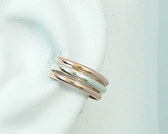 Conch Pierced Cartilage Earring, Two Tone Silver Pink ROSE Gold Cuff, Single Gauge Piercing, Conch Hoop, Conch Ring, Triple  ETT3HRRGFSSRGFP