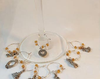 DreamscapesByCyn--WEDDING/ANNIVERSARY Wine Glass Charms -- set of eight