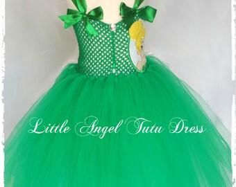 Tinkerbell Fairy Tutu Dress. Green Fairy Dress. Fancy Dress Costume. Handmade Tutu. Tinkerbell Tutu. Birthday Party. Tinkerbell Costume.