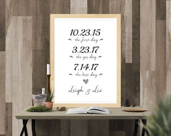 First Day, Yes Day, Best Day Custom Print. Our Love Story. Engagement Party Decorations. Wedding Decorations. Wedding Sign. DIGITAL ONLY